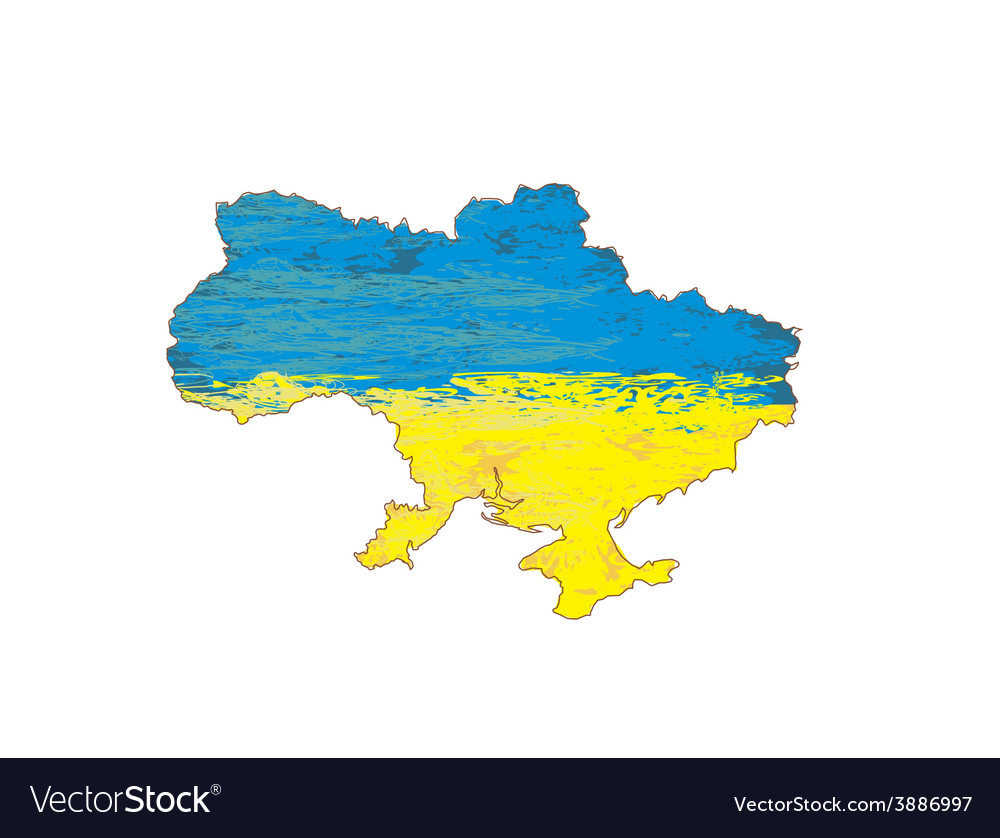 Ukraine grunge map with the flag inside vector | Price: 1 Credit (USD $1)