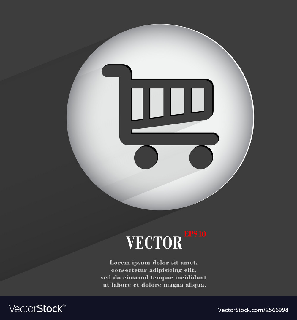 Basket flat modern web button with long shadow and vector | Price: 1 Credit (USD $1)