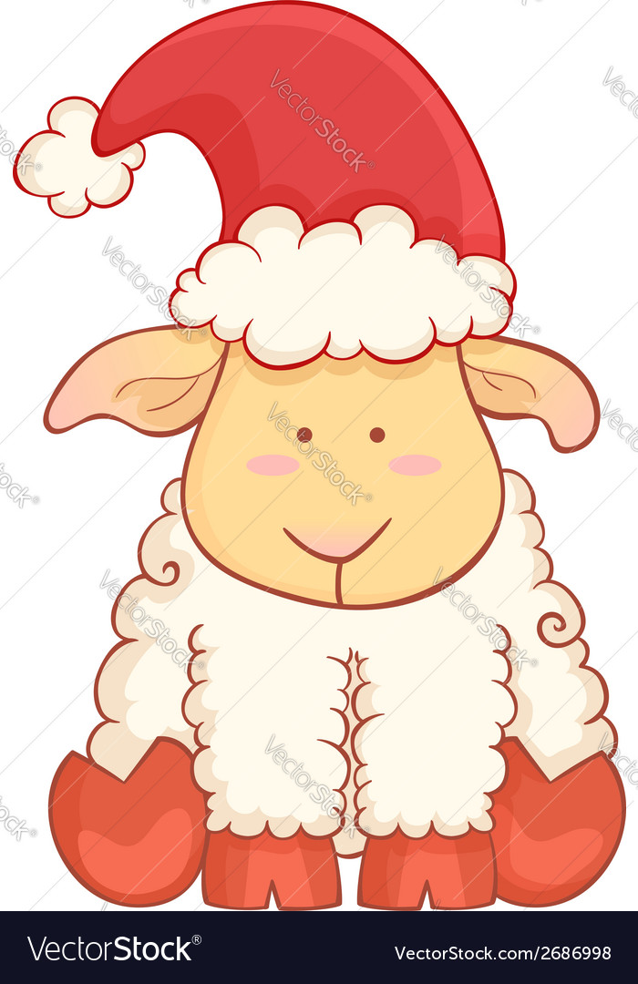 Cartoon sheep wearing santa hat vector | Price: 1 Credit (USD $1)