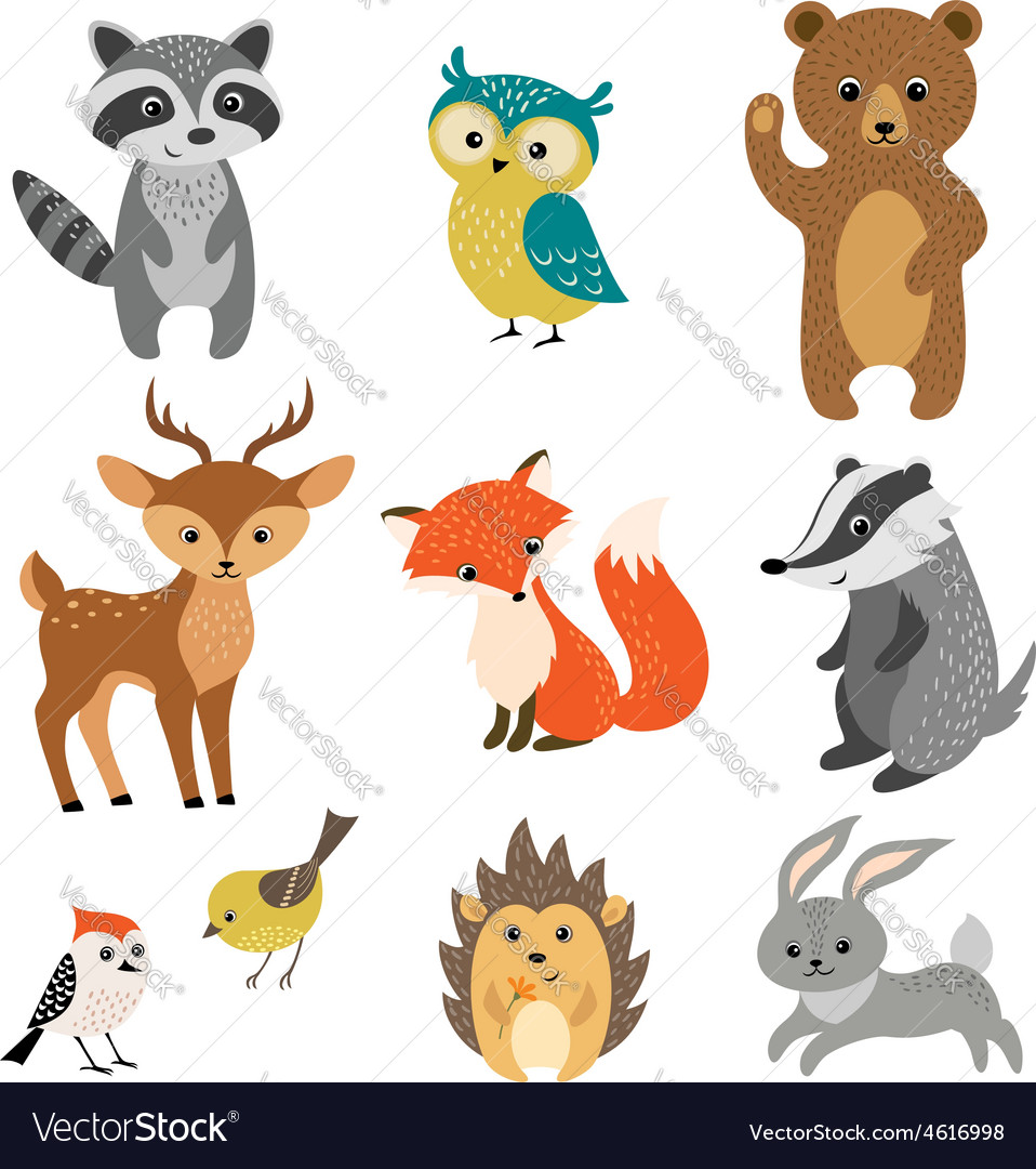 Cute forest animals vector | Price: 1 Credit (USD $1)