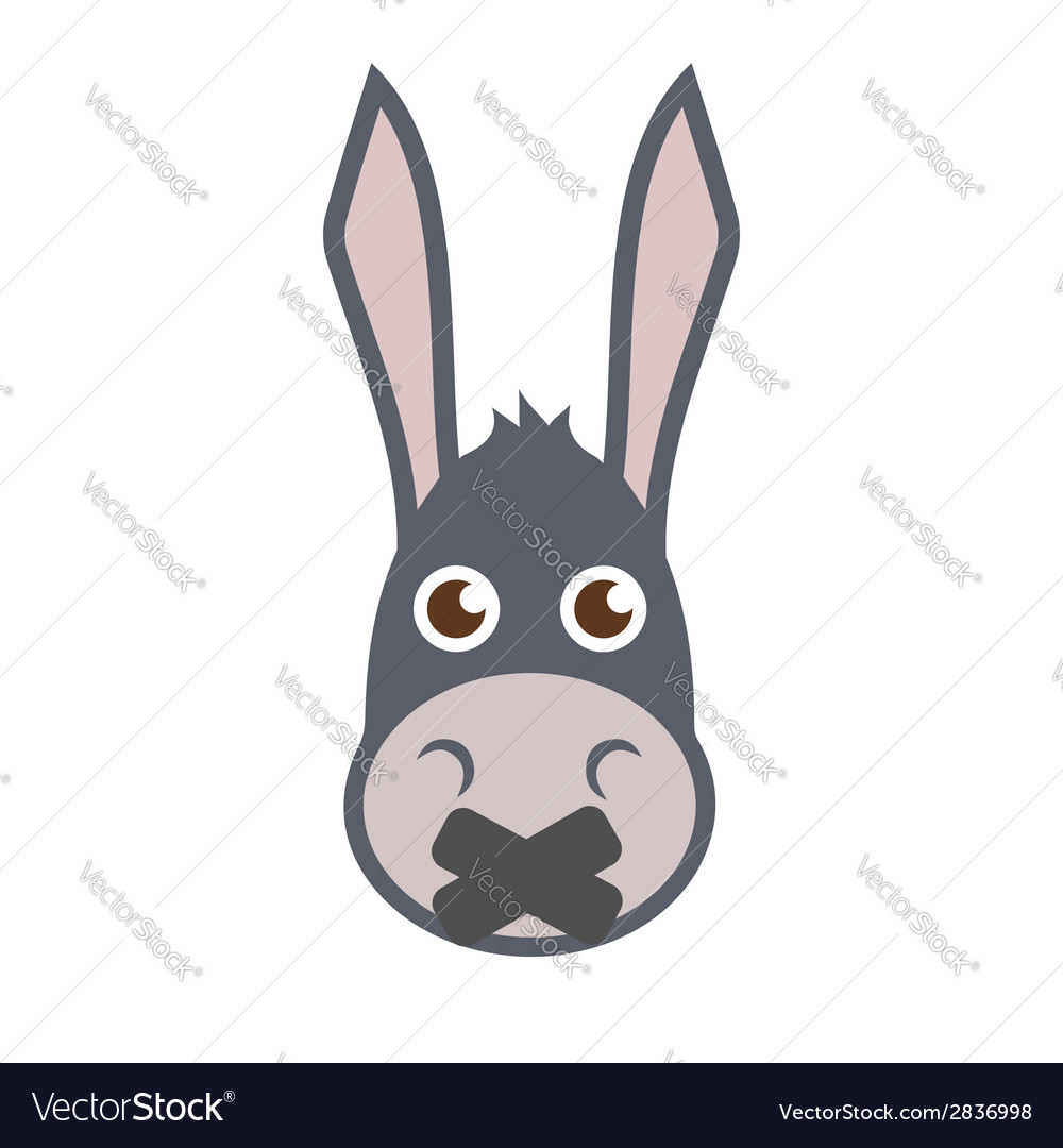 Donkey head with mouth sealed vector | Price: 1 Credit (USD $1)