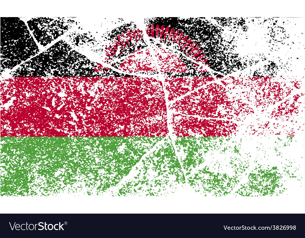 Flag of malawi with old texture vector | Price: 1 Credit (USD $1)