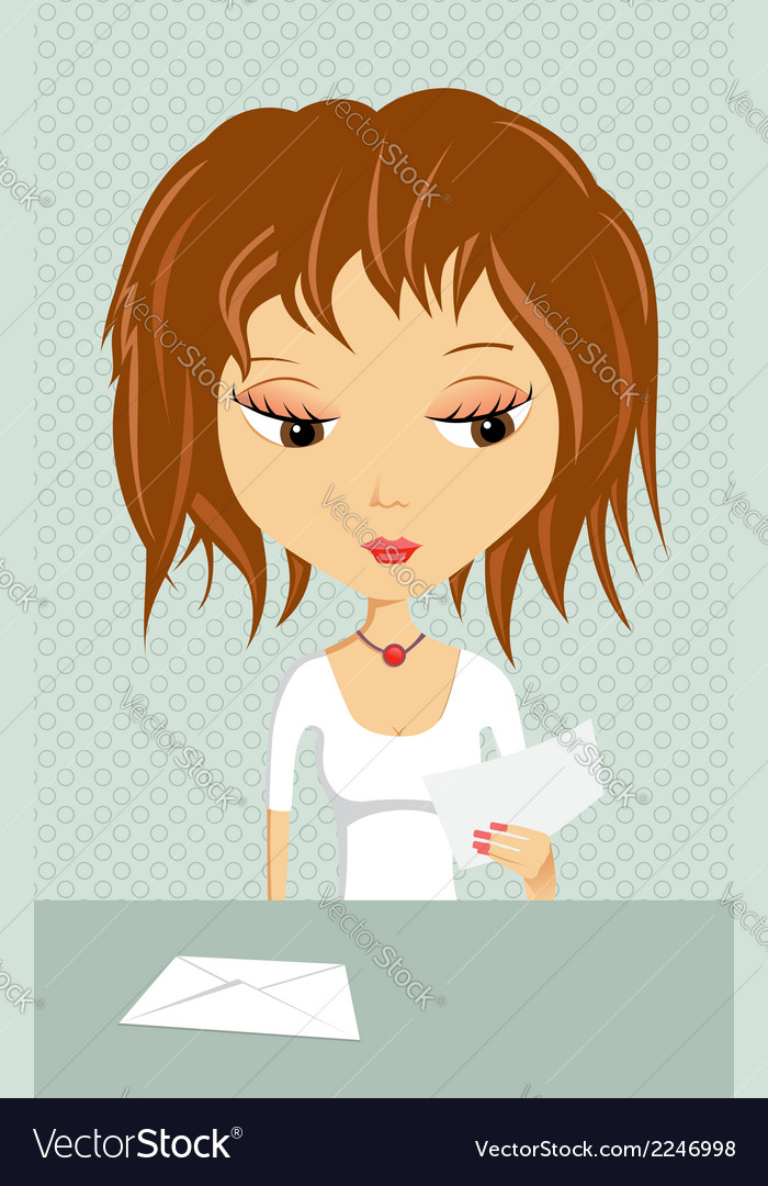 Girl with a letter vector | Price: 1 Credit (USD $1)