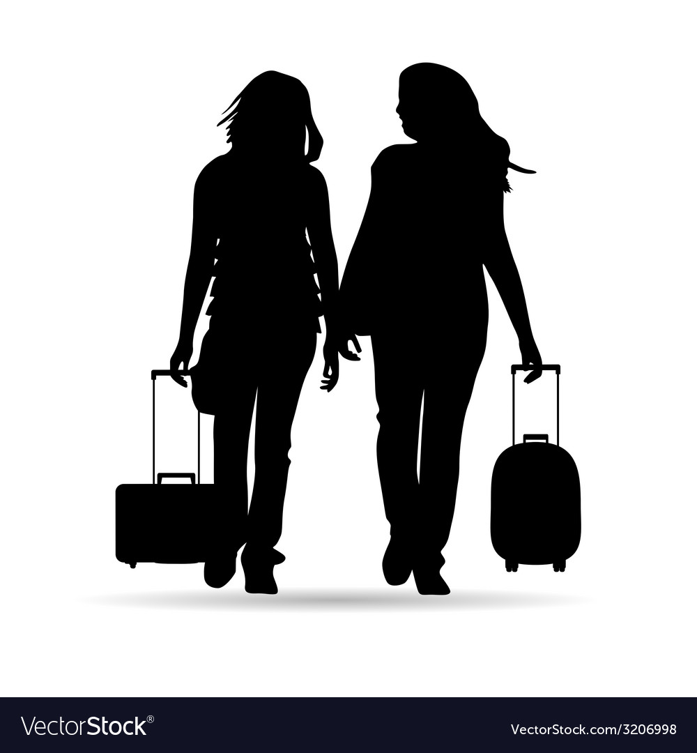 Girl with traveling bag silhouette vector | Price: 1 Credit (USD $1)