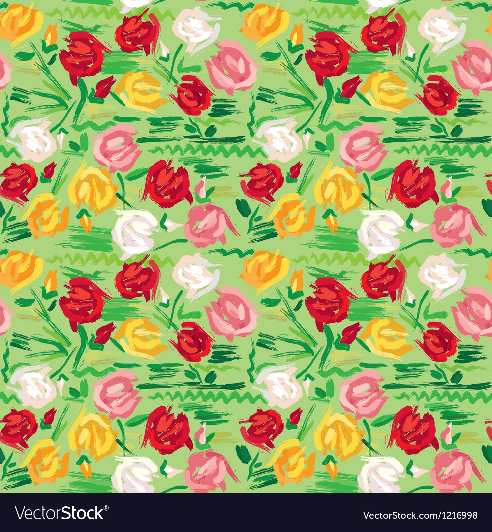 Hand painted roses seamless pattern vector | Price: 1 Credit (USD $1)