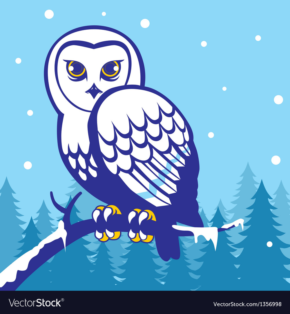 Owl in the winter season vector | Price: 1 Credit (USD $1)