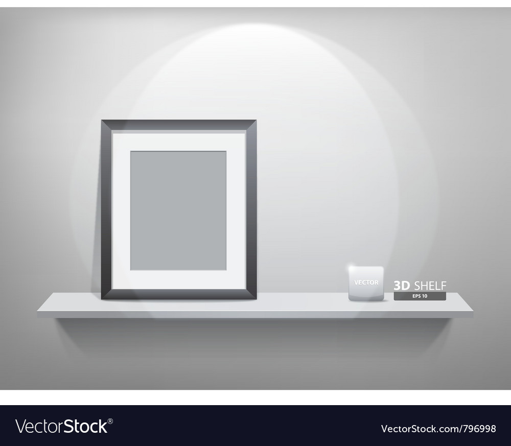 Photo frame on white shelf vector | Price: 3 Credit (USD $3)