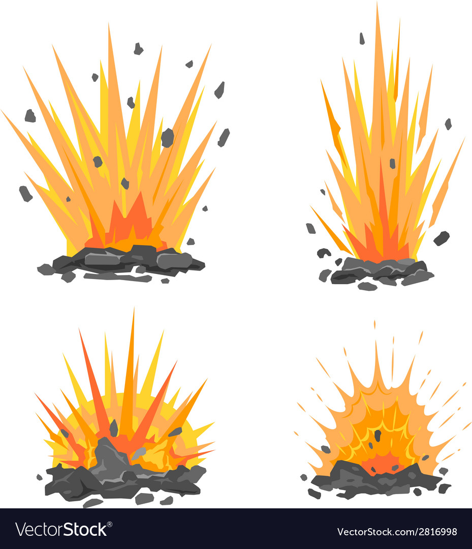 Set of cartoon ground explosions vector | Price: 1 Credit (USD $1)