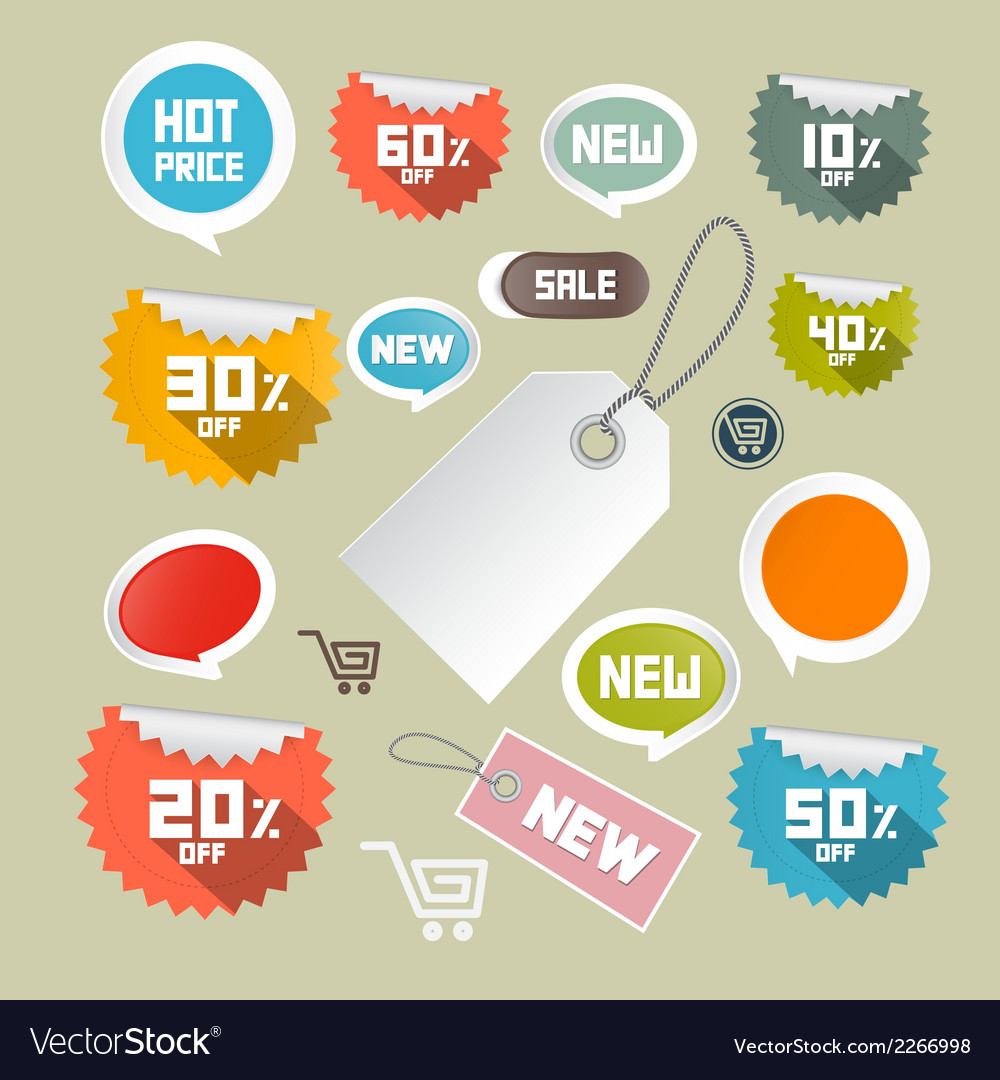 Set of colorful retro paper discount labels tags vector | Price: 1 Credit (USD $1)