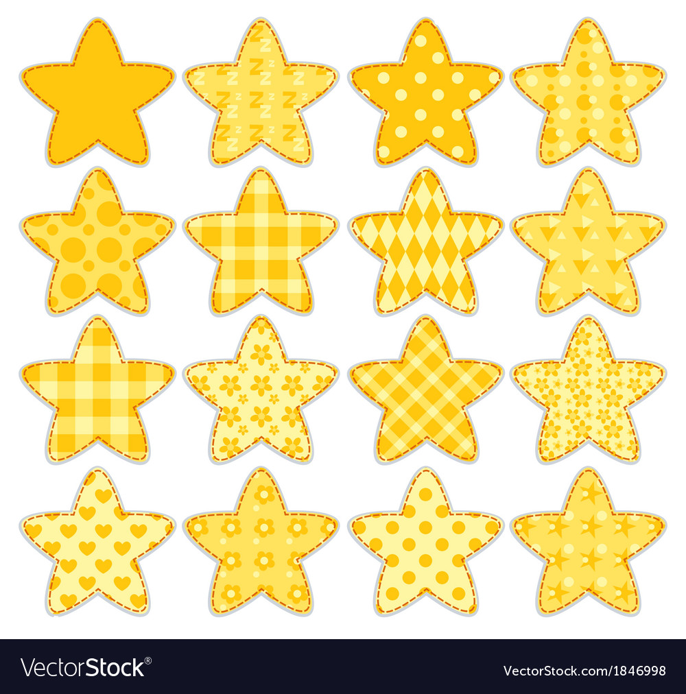 Set of patchwork stars vector | Price: 1 Credit (USD $1)