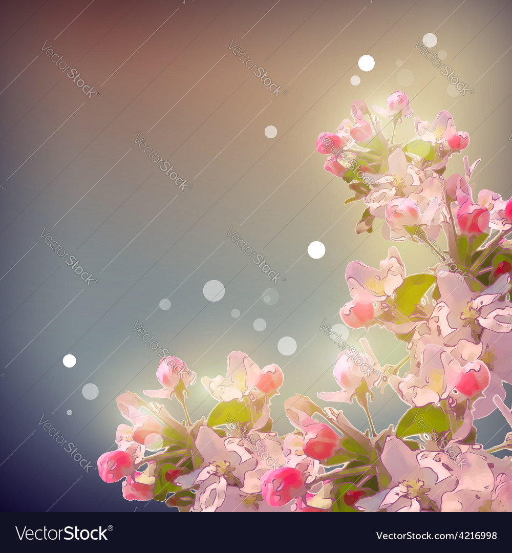 Shining cherry blossom background vector