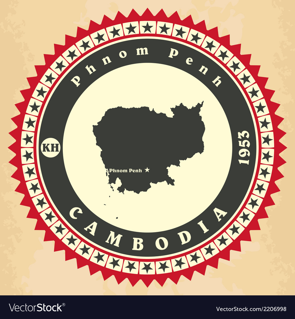 Vintage label-sticker cards of cambodia vector | Price: 1 Credit (USD $1)