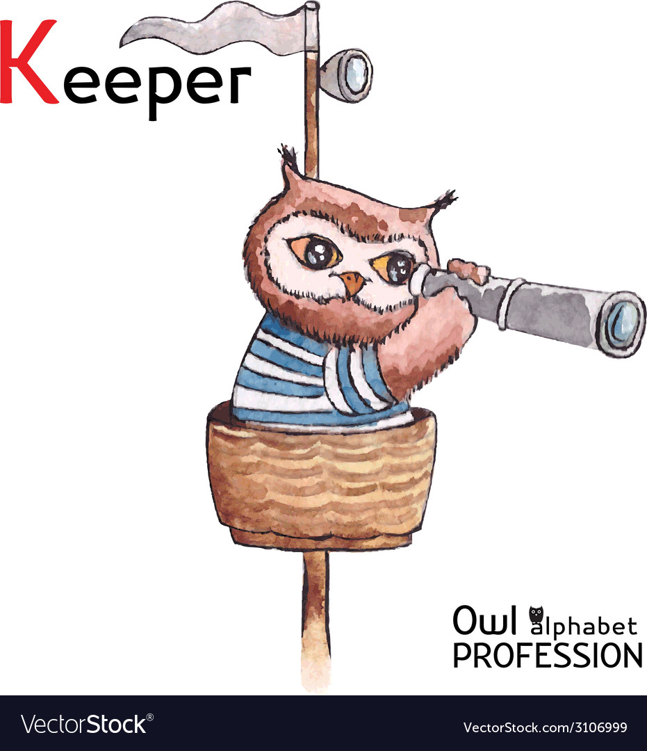 Alphabet professions owl letter k - keeper vector | Price: 1 Credit (USD $1)