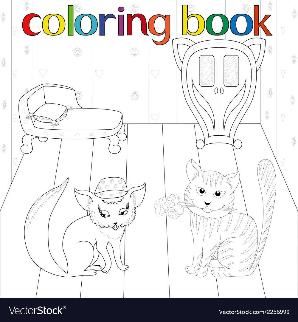 Cat and pussy in room for coloring book vector | Price: 1 Credit (USD $1)