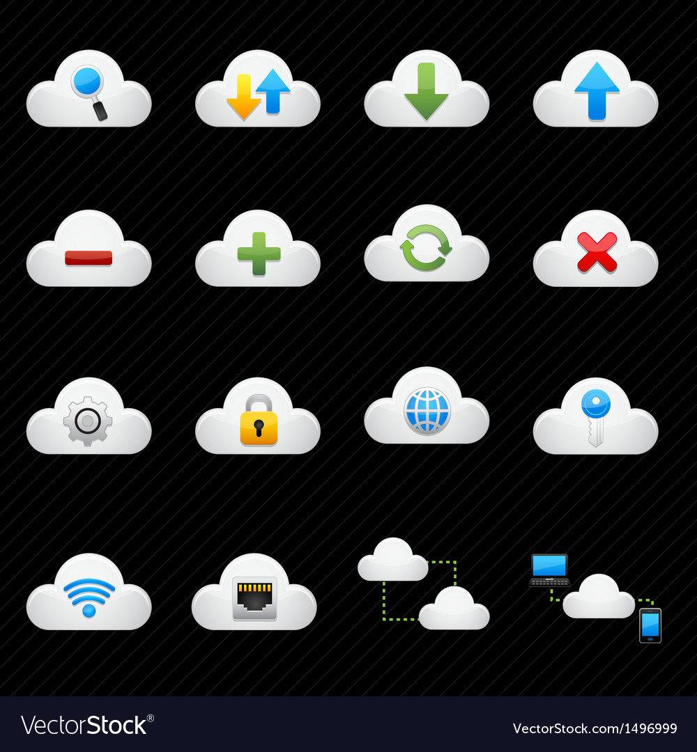 Cloud computing icons vector | Price: 3 Credit (USD $3)