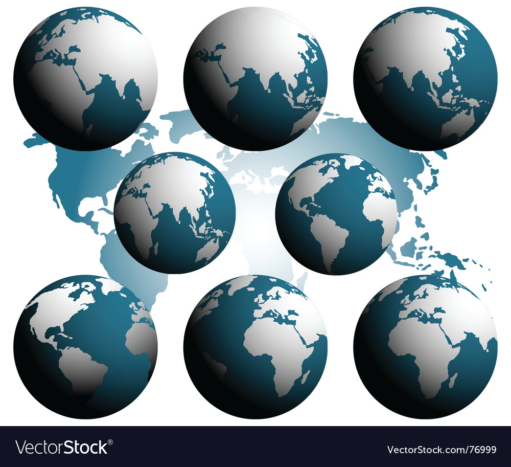 Earth over continents vector | Price: 1 Credit (USD $1)