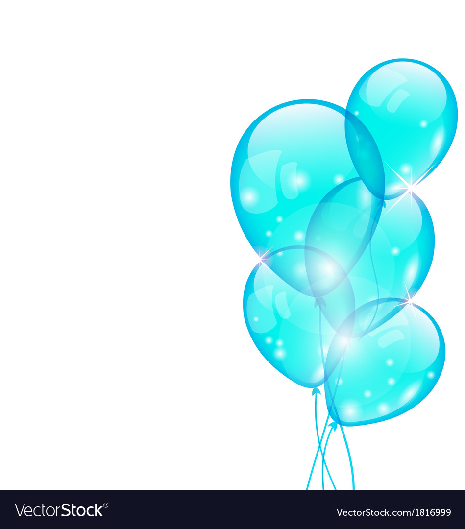 Flying blue balloons isolated on white background vector | Price: 1 Credit (USD $1)