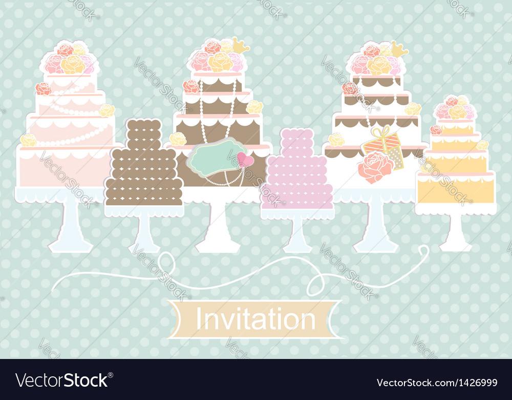 Invitation design with decorative cakes vector | Price: 3 Credit (USD $3)