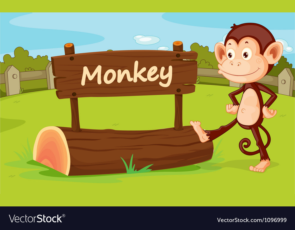 Monkey in a zoo vector | Price: 1 Credit (USD $1)