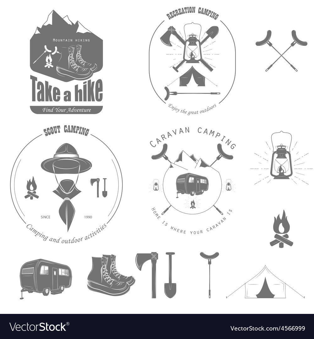 Outdoor recreation badge set vector | Price: 1 Credit (USD $1)