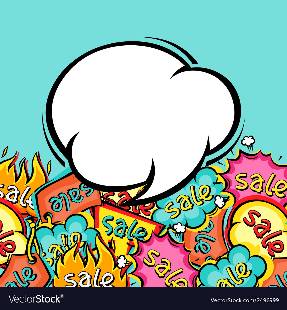 Sale comic speech bubble background in cartoon vector | Price: 1 Credit (USD $1)