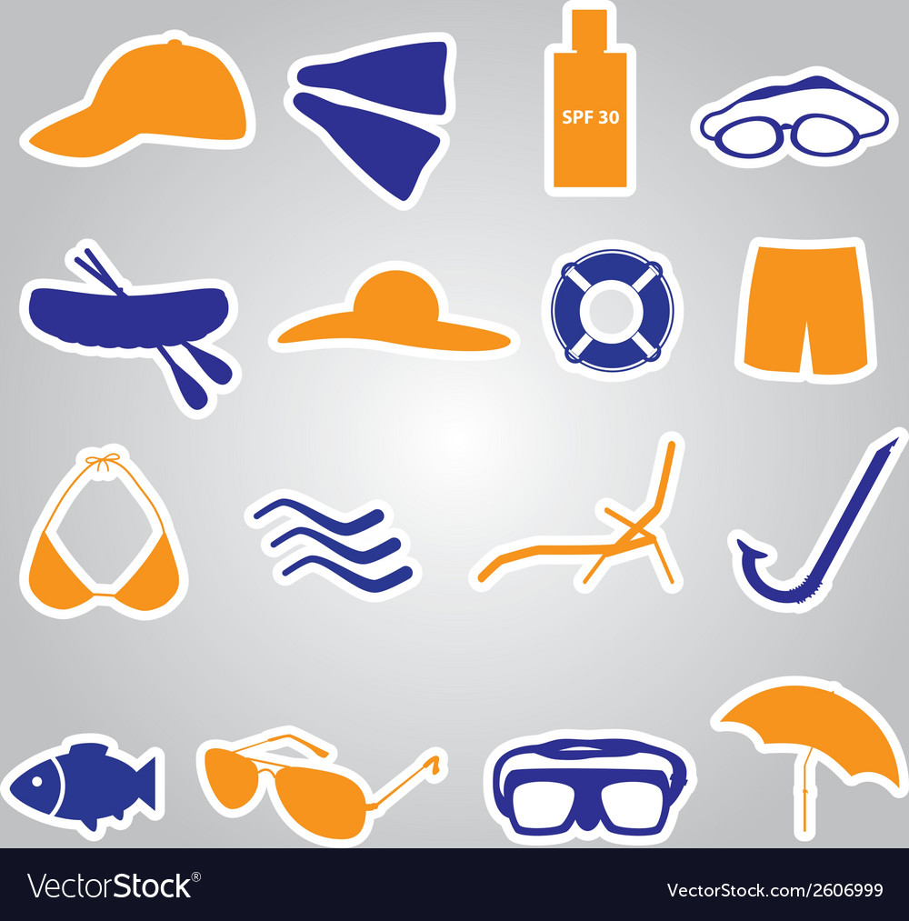 Summer and beach stickers eps10 vector | Price: 1 Credit (USD $1)