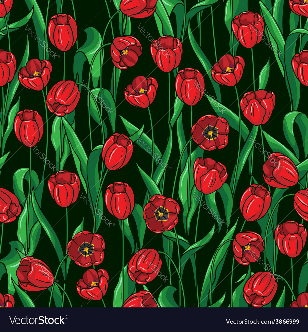 Tulip pattern on black vector | Price: 1 Credit (USD $1)