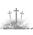 Abstract golgotha with three cross vector