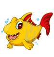 Cute yellow fish cartoon vector