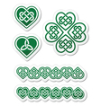 Celtic green heart knot - symbols set vector