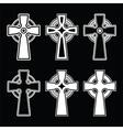 Irish scottish celtic cross on black sign vector