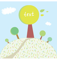 Greeting card with trees and hill vector