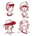 Retro woman in hats hand drawn design vector