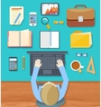 Top view of businessman on his workplace vector