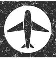 Grunge gray circle icon - airplane vector