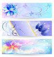 Beautiful abstract background with flowers banner vector