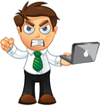 Business man angry with laptop vector