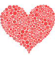 Red heart made of gear wheels vector
