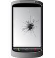 Cracked cellphone display vector
