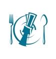 Dinnertime table setting vector