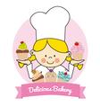 Pastry girl vector