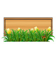 An empty wooden signboard with plants vector