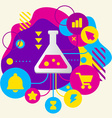 Laboratory flask on abstract colorful spotted vector