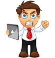 Business man angry with tablet vector