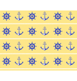 Seamless sea pattern blue wheel and stern anchor vector