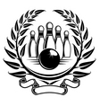 Bowling symbol in laurel wreath in retro style vector