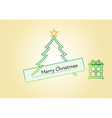 Christmas card with tree star and gift vector