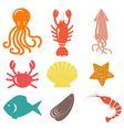 Seafood icons sea life vector