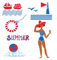 Sea and beach set funny icons vector