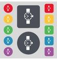 Wrist watch sign icon mechanical clock symbol set vector